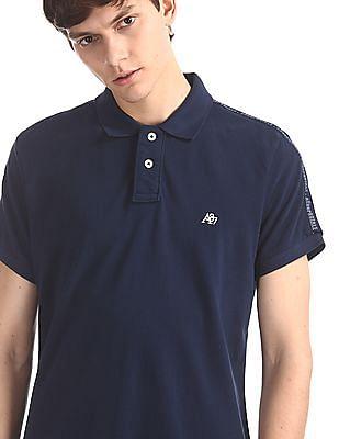 Aeropostale Blue Shoulder Tape Pique Polo Shirt
