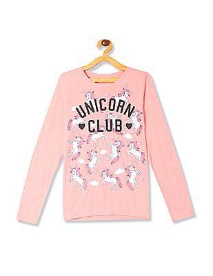 The Children's Place Pink Girls Glittery Unicorn Print T-Shirt