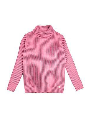 U.S. Polo Assn. Kids Girls Long Sleeved Ribbed Knit Sweater