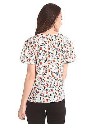 Elle Studio Flared Sleeve Printed Top