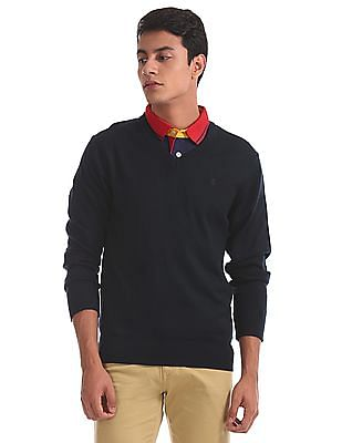 Izod Ribbed Neck Solid Sweater
