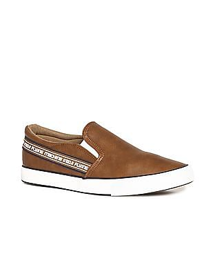 Flying Machine Brown Brand Tape Textured Slip On Shoes