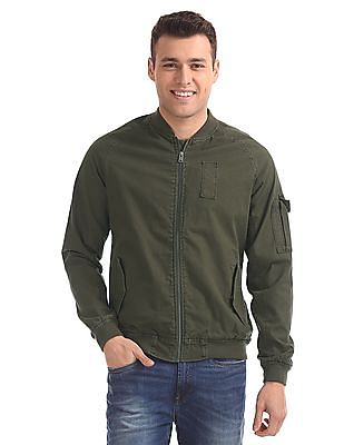 Aeropostale Cotton Solid Bomber Jacket
