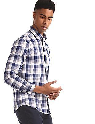 U.S. Polo Assn. Blue Spread Collar Check Shirt