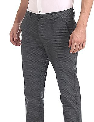 Ruggers Green Tapered Fit Printed Trousers