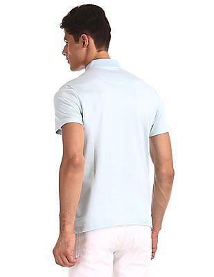 Arrow Blue Solid Regular Fit Polo Shirt