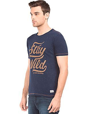 Flying Machine Contrast Print Speckled T-Shirt
