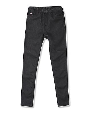 U.S. Polo Assn. Kids Girls Elasticized Waist Rinsed Jeggings