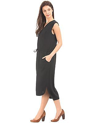 U.S. Polo Assn. Women Drawstring Waist Shirt Dress