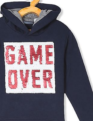 The Children's Place Boys Blue Flippy Sequin Graphic Hooded Sweatshirt