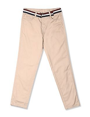 Cherokee Beige Boys Flat Front Belted Trousers