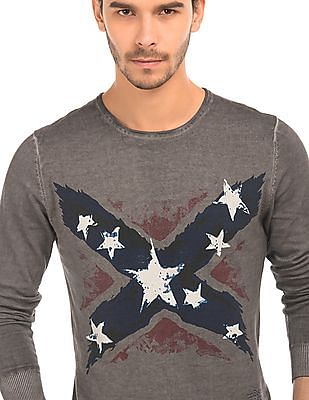 Ed Hardy Confederate Flag Print Knit Sweater