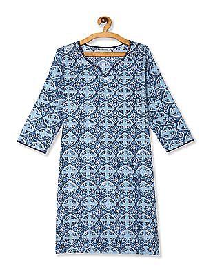 Karigari Blue Sequin Neck Printed Kurta
