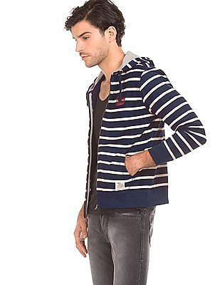 Flying Machine Striped Zip Up Sweatshirt