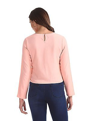 SUGR Pink Cut Out Neck Solid Top