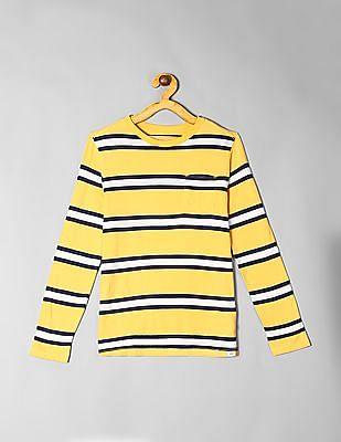 GAP Boys Yellow Patch Pocket Striped T-Shirt