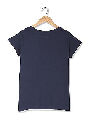 Flying Machine Women Short Sleeve Appliqued T-Shirt