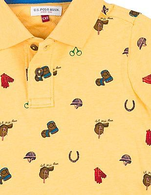 U.S. Polo Assn. Kids Boys Graphic Print Short Sleeve Polo Shirt
