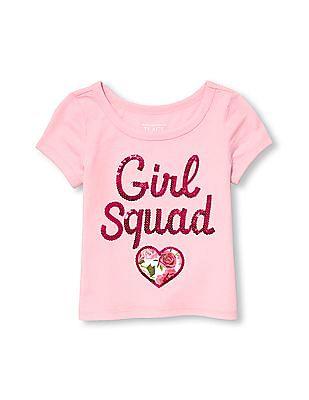 The Children's Place Toddler Girl Short Sleeve Embellished Ringer Top