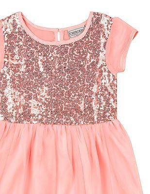 Cherokee Girls Sequin Embellished Mesh Layer Dress