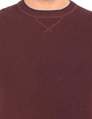 Nautica Solid Round Neck Sweater