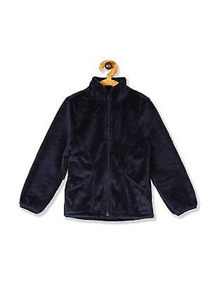 The Children's Place Girls Blue Solid Faux-Fur Full-Zip Jacket