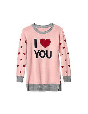 GAP Toddler Girl Pink Love You Intarsia Sweater Dress