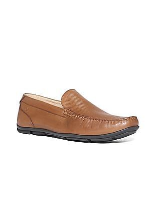 Arrow Patterned Leather Loafers