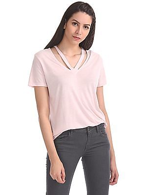 Aeropostale Split Neck Short Sleeve Top