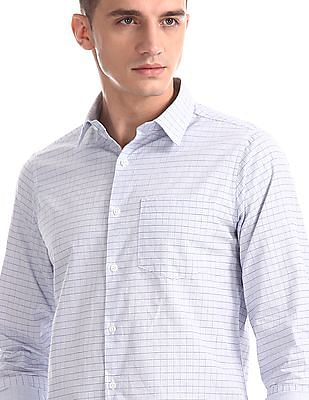 Excalibur Blue Slim Fit Cutaway Collar Shirt