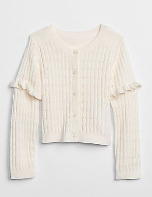 GAP Baby Pointelle Ruffle Cardigan Sweater