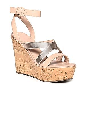 GUESS Crossover Strap Cork Textured Wedges