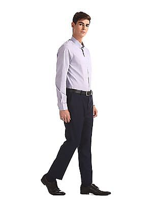 Arrow Newyork Purple French Placket Check Shirt