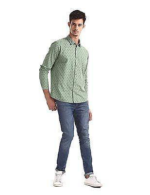 Ruggers Green Regular Fit Printed Shirt