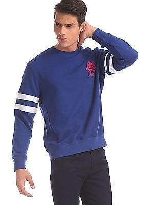 U.S. Polo Assn. Blue Striped Sleeve Cotton Sweatshirt