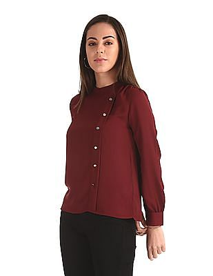 Elle Studio Red Band Neck Woven Top