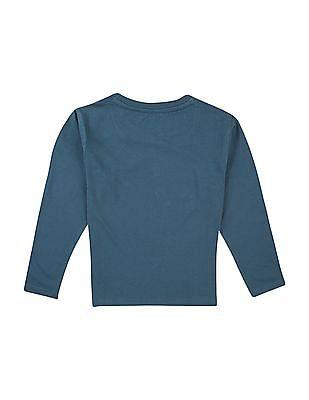 FM Boys Captain America Print Long Sleeve T-Shirt