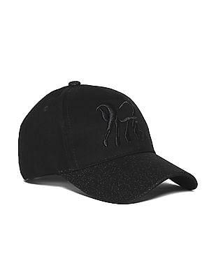 SUGR Black Glitter Brim Embroidered Cap