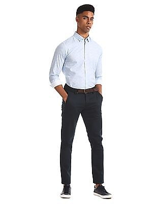 Flying Machine Blue Solid Super Slim Fit Trousers