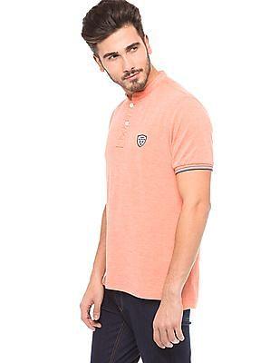 Flying Machine Mandarin Collar Regular Fit Polo Shirt