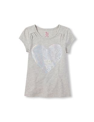 The Children's Place Girls Short Sleeve Printed Drapey Top