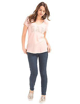 GAP Women Blue Mid Rise Zip Pocket True Skinny Ankle Jeans