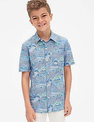 GAP Boys Chambray Shark Short Sleeve Shirt