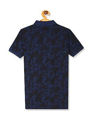 U.S. Polo Assn. Kids Blue Boys Camo Print Pique Polo Shirt