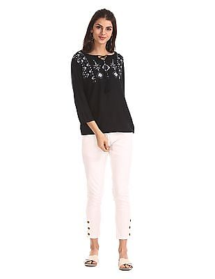 Cherokee Black Elasticized Hem Printed top
