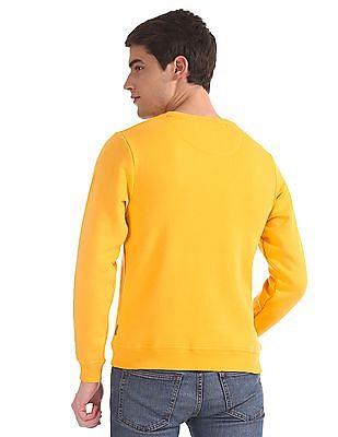 Flying Machine Yellow Crew Neck Printed Sweatshirt