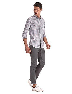Arrow Sports Grey Slim Fit Check Shirt