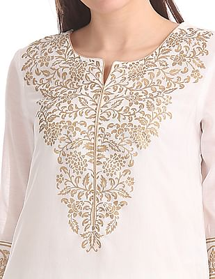Anahi Notch Lapel Collar Printed Kurta