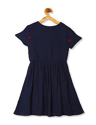 Cherokee Blue Girls Embroidered Crinkled Dress