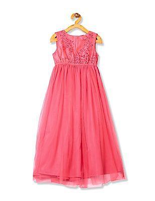 Karigari Girls Embroidered Maxi Dress